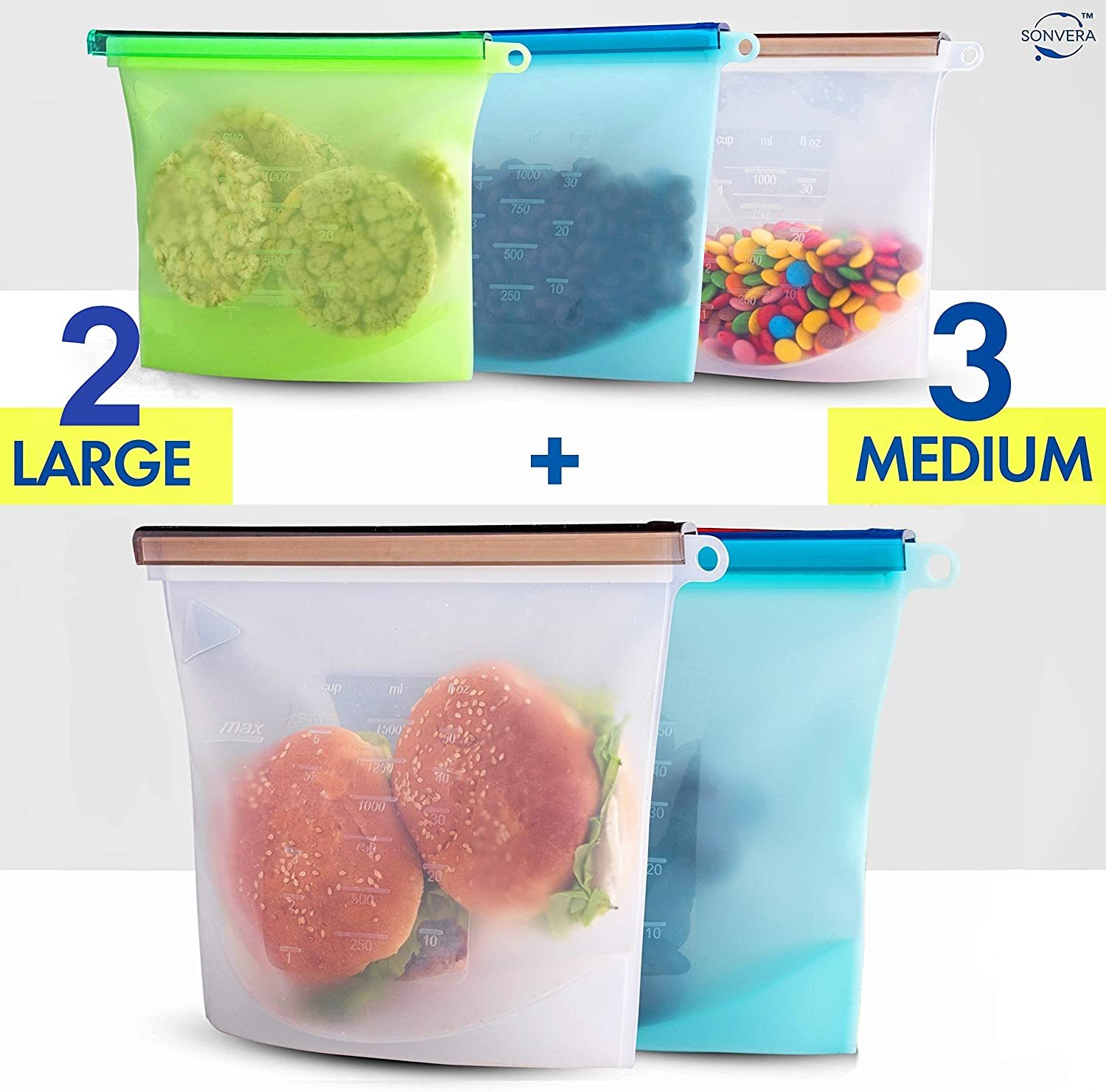 Silicone Bags Reusable Silicone Food Bag Reusable Sandwich Bags Reusable Ziplock Bags Silicone Storage Bags Silicon Containers Plastic Conteiner Freezer Gallon Size Zip Snack Lunch