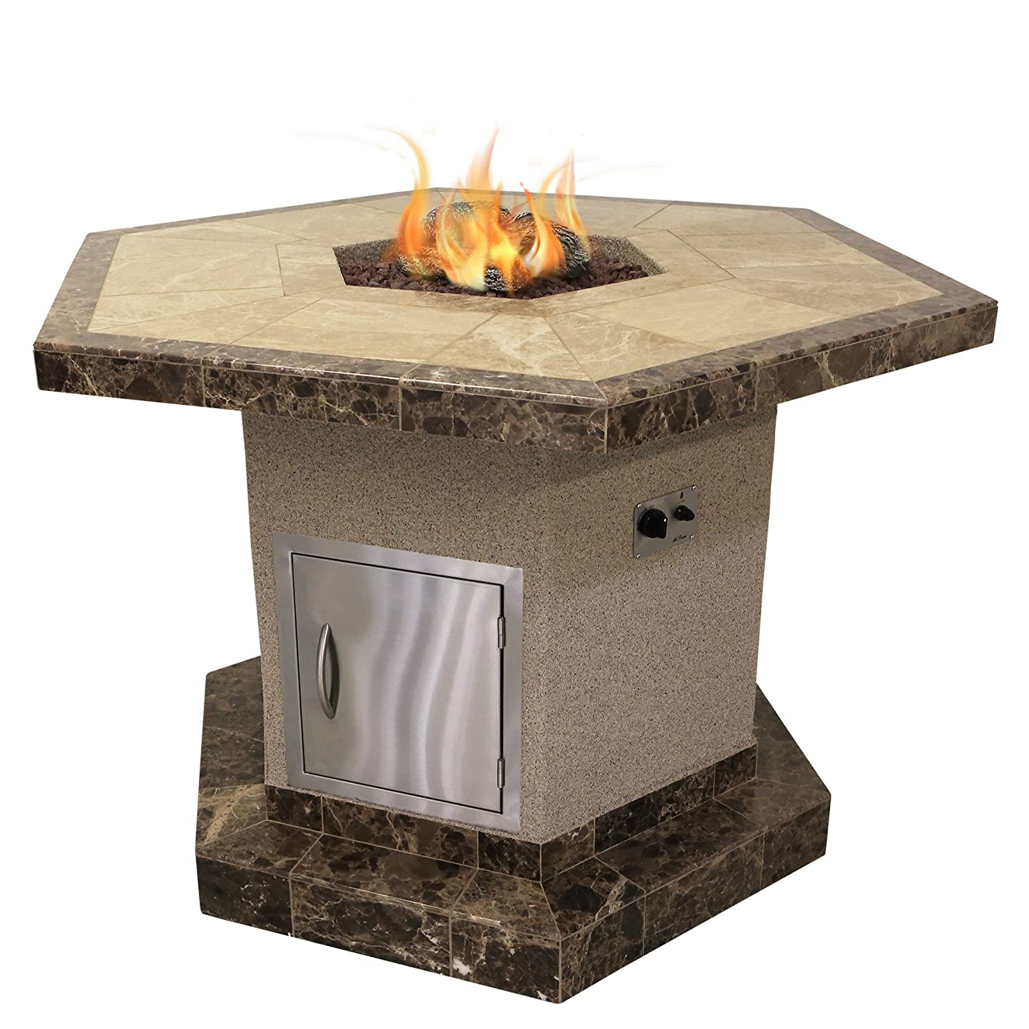 Cal Flame FPT-H1050T-1 Stucco and Tile Dining Height Square Propane Gas Fire Pit with Log Set and Lava Rocks