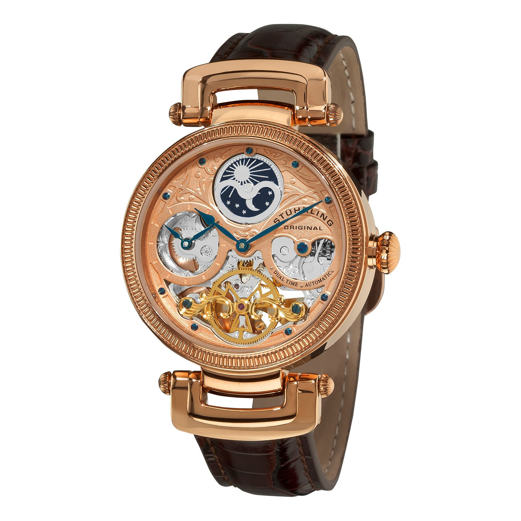 Stuhrling Original Men's 353A.334K14 ''Magistrate'' 18k Rose Gold-Layered Automatic Watch with Leather Band