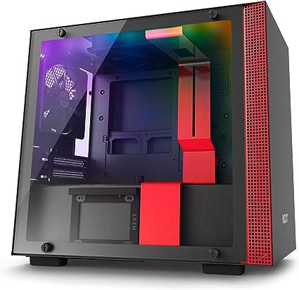 NZXT H200i - Caja de PC Gaming Mini-ITX - Panel de vidrio templado - Preparado para refrigeración líquida - Negro/Rojo - Versión 2018: Amazon.es: Informática
