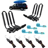 2 Pairs Heavy Duty Kayak Rack-Includes 4 Pcs Ratchet Tie-Mount on Car Roof Top Crossbar-Easy to Carry Kayak Canoe Boat…