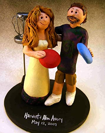 Amazon.com: Frisbee Golf Wedding Cake Toppers - Custom Made: Home ...