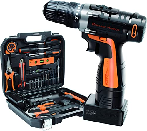 35pcs 25V Cordless Drill Tool Box Set, with Lithium Battery Drill Bits and General Home Hand Tool Combo Kits, Powered Electric Drill Set