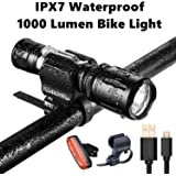 IPX7 Waterproof Bike Light Set-1000 Lumen Mini Bicycle Headlight Free Rear Light-USB Fast Charge High Performance Rechargeable Battery Easy Install & Universal Fit Mount