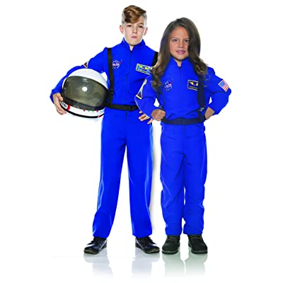 UNDERWRAPS Kid's Children's Astronaut Flight Suit Costume - Blue Childrens Costume, Blue, Medium: Clothing