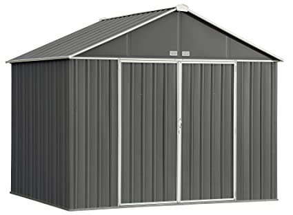 Arrow EZEE Shed Extra High Gable Steel Storage Shed Charcoal/Cream Trim 10  sc 1 st  Amazon.com & Amazon.com : Arrow EZEE Shed Extra High Gable Steel Storage Shed ...