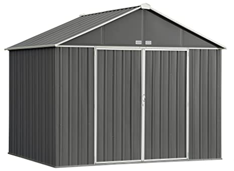 Review Arrow EZEE Shed Extra High Gable Steel Storage Shed, Charcoal/Cream Trim, 10 x 8 ft.