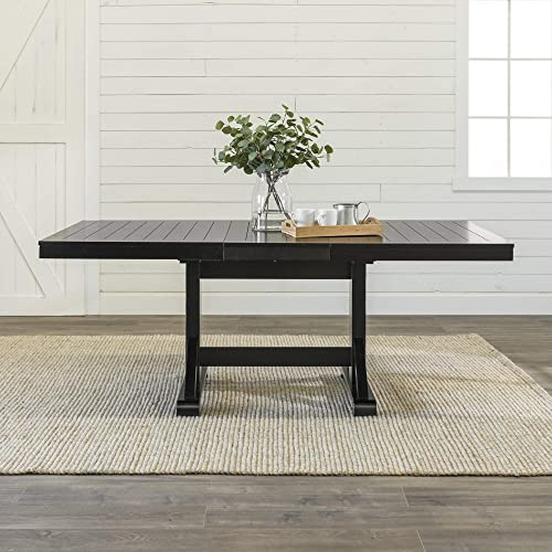 WE Furniture 6 to 8 Person Wood Modern Farmhouse Expandable Room Table with Leaf Kitchen Dining Chairs, Extendable, Antique Black
