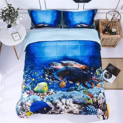 HIG 3D Bedding Set 2 Piece Twin Size Turtle in Sea Print Comforter Set with One Matching Pillow Cover -Box Stitched Quilted Duvet -General for Men and Women Especially for Children (P30,Twin): Home & Kitchen