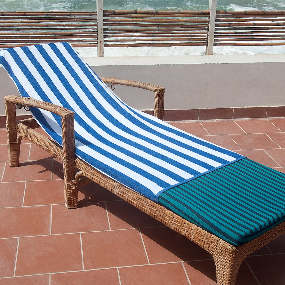 Luxury Hotel Beach & Pool Towels, in Cabana Stripes - (Blue, 36 Pieces, 32 x 64 inches) - 100% Cotton - by D-Zee Textiles LLC (Blue, 32 x 64)