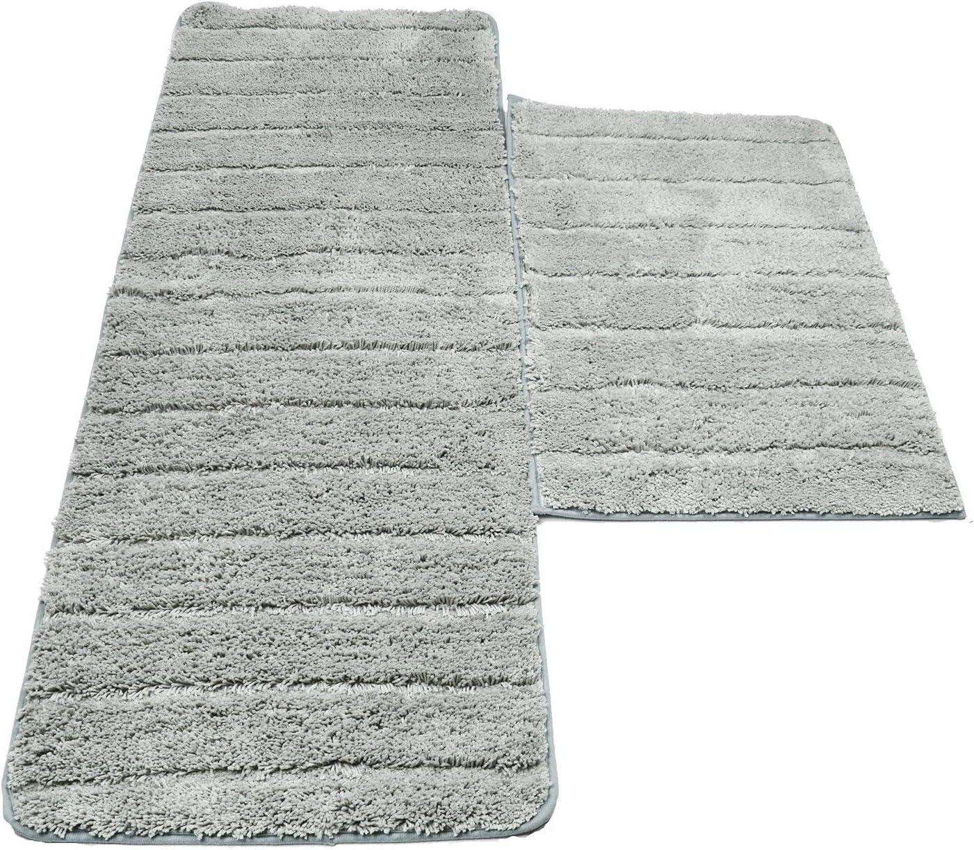 Grey Homcomodar Microfiber Bath Rugs for Bathroom Set 2 Piece Absorbent Soft Polyester Non-slip Floor Runner Rugs Washable Bath Mats