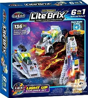 Amazon.com: Lite Brix Nitro Ninja Light Up Robot 35 Pc Super ...