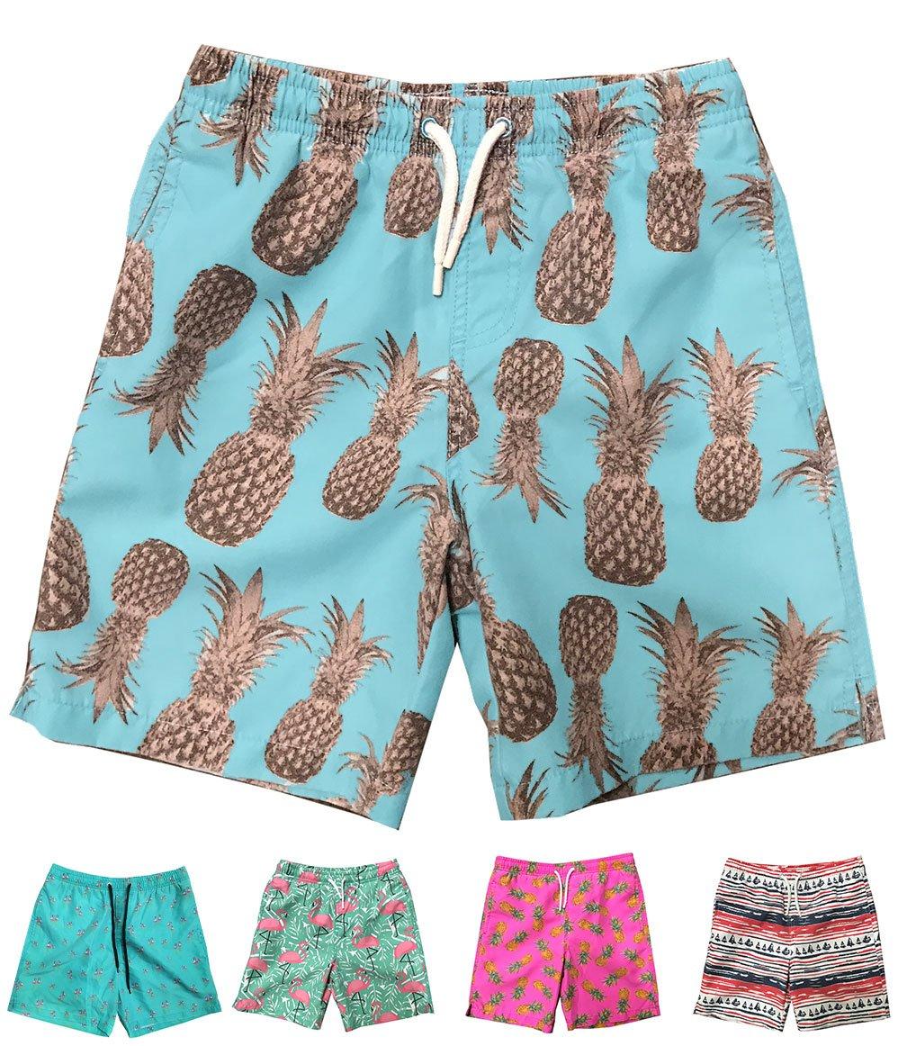 INGEAR Little Boys Quick Dry Beach Board Shorts Swim Trunk Swimsuit Beach Shorts with Mesh Lining (Aqua Pineapples, 8/10)