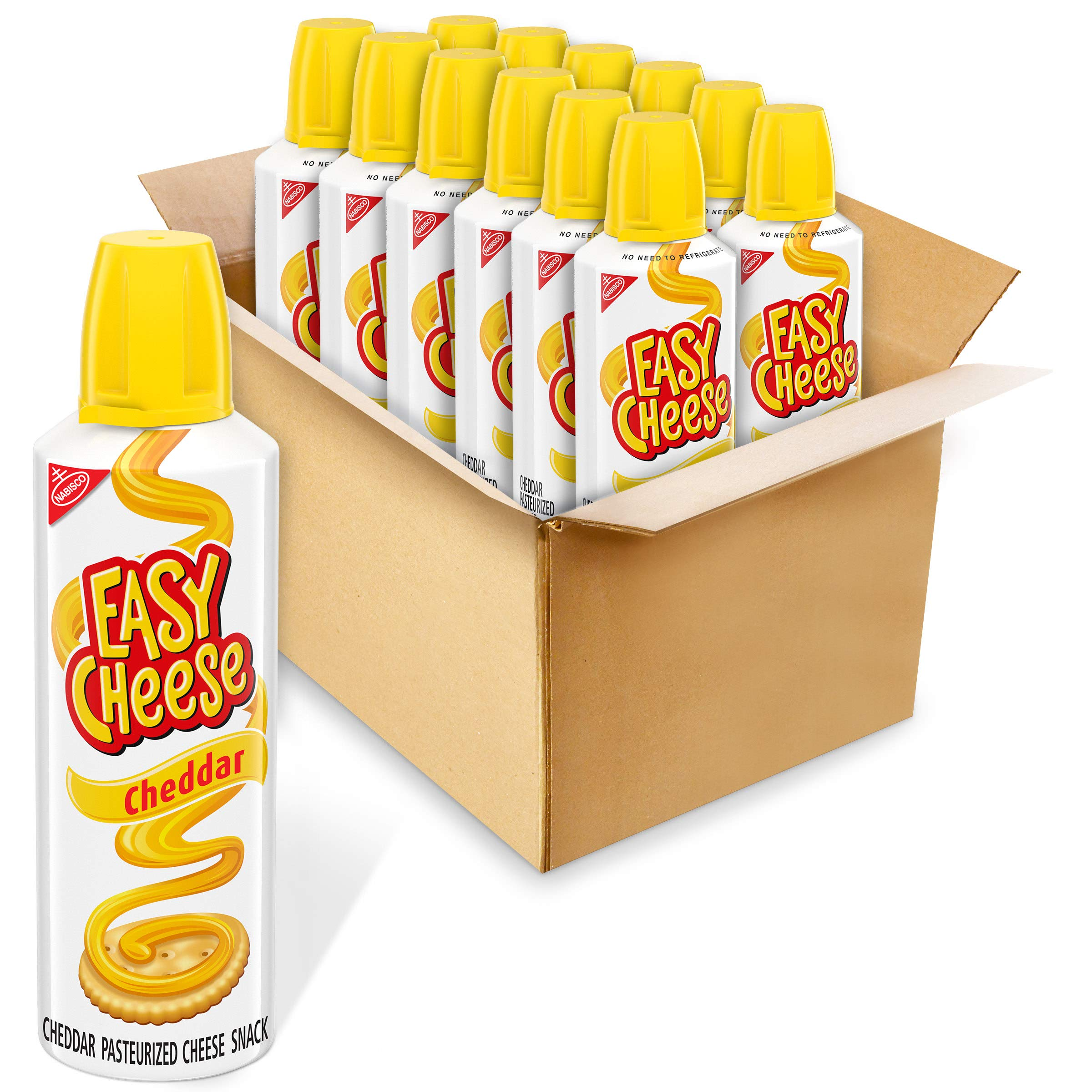 Easy Cheese Cheddar Cheese Snack, 12 - 8 oz Cans