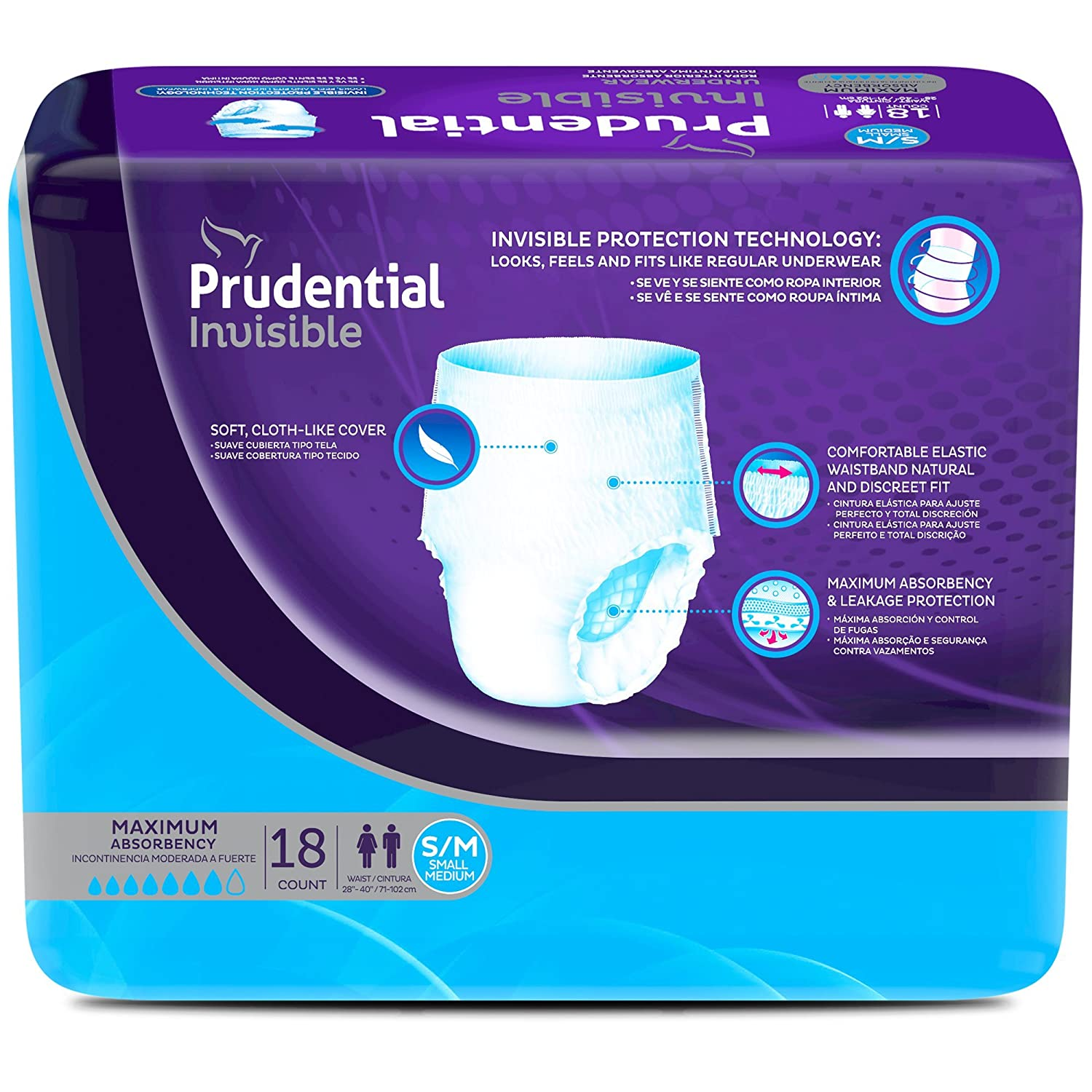 Amazon.com: Prudential Invisible Maximum Absorbency Incontinence Underwear For Men & Women, Medium 18 Count: Health & Personal Care