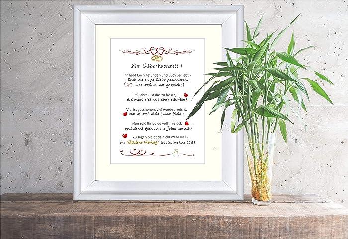 Zur Silberhochzeit - liebevoll gestalteter, personalisierter Kunstdruck als  Geschenk und Glückwunsch zur Silberhochzeit - 24 x 30 cm mit Passepartout  ...