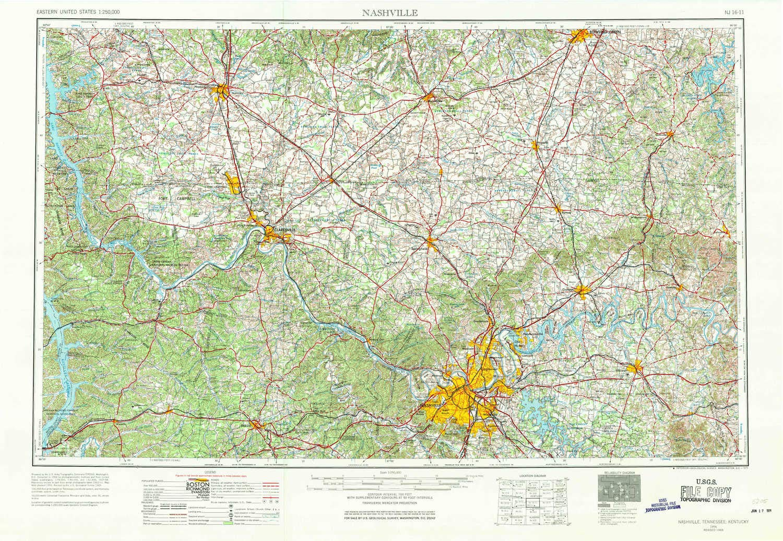 Amazoncom Yellowmaps Nashville Tn Topo Map 1250000 Scale 1 X 2 - Nashville-tennessee-on-us-map