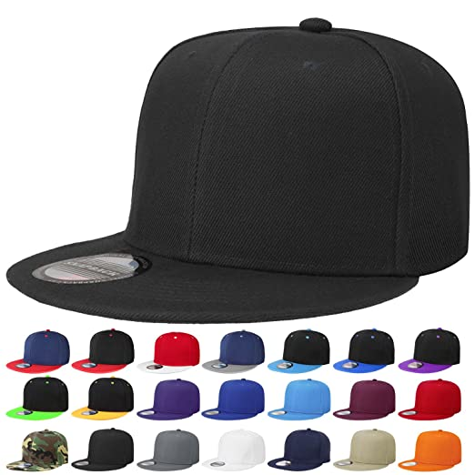 2b6d0166c Classic Snapback Hat Cap Hip Hop Style Flat Bill Blank Solid Color  Adjustable Size