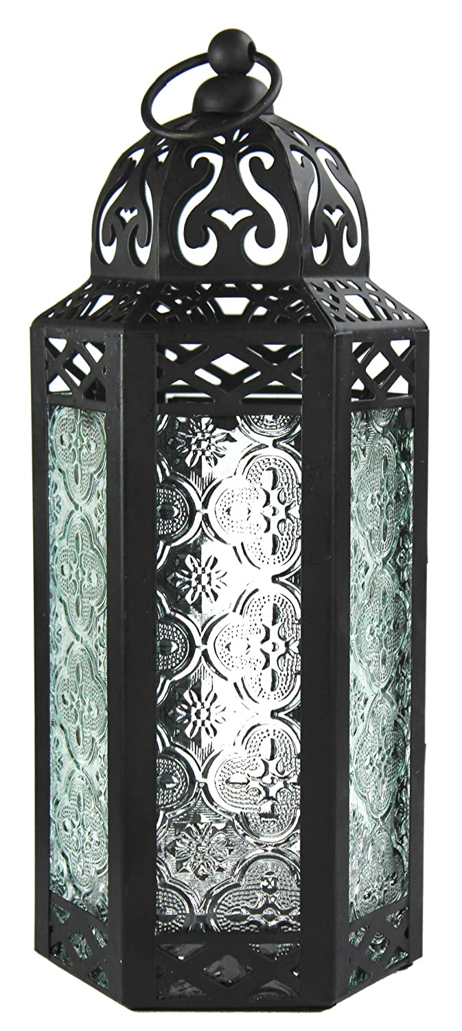Clear Glass Moroccan Style Candle Lantern - Great for Patio, Indoors/Outdoors, Events, Parties and Weddings