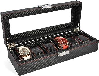 The perseids Fibra Carbono Reloj Caja para 6 Relojes, Estuche para Relojes con 6 Compartimentos and Almohadas extraíbles de Fibra de Carbono (6 Relojes): Amazon.es: Relojes
