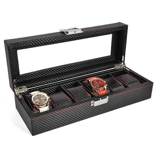 The perseids Fibra Carbono Reloj Caja para 6 Relojes, Estuche para Relojes con 6 Compartimentos and Almohadas extraíbles de Fibra de Carbono (6 Relojes): ...