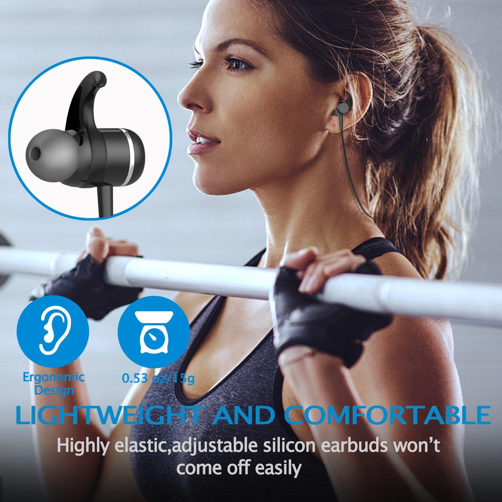 Bluetooth 4.1 Headphones, Sports Earphones w/Mic, Waterproof HD Stereo Earbuds for Gym Running by LIREION (Image #3)