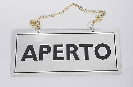 takestop Cartel Adhesivo de Metal Abierto con Cadena ...