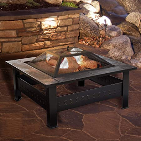 Outdoor Fire Pit Wood Burning Heater Poker Mesh Lid Garden Patio Round Camping