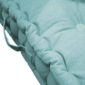Douceur dIntérieur Cojín de Suelo 45 x 45 x 10 cm, algodón Uni Pacífico Menta