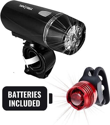Set de luces para bicicleta – 5 LED luz delantera y 0,5 W LED rojo ...