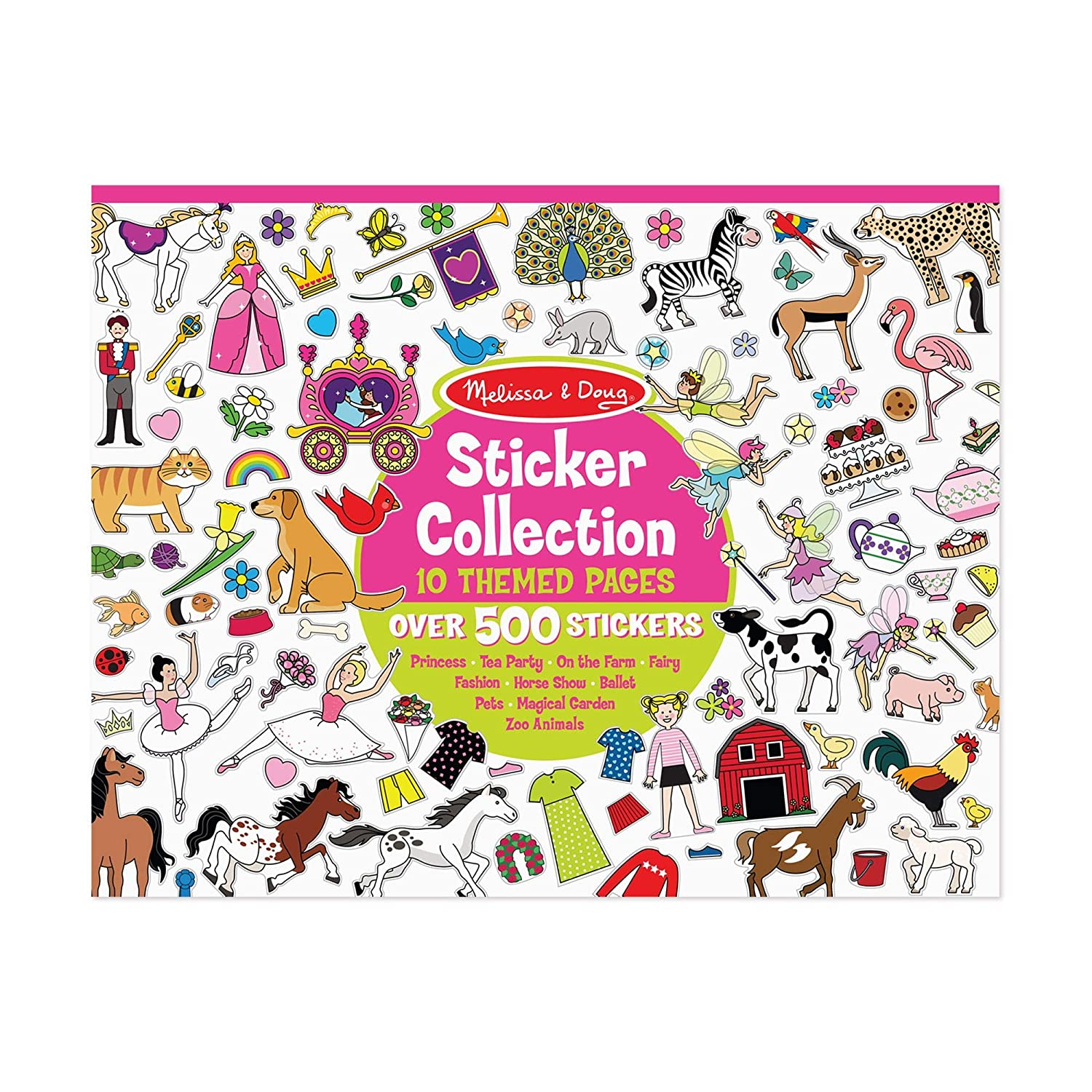 Melissa Doug Sticker Collection Book Princesses Tea Party Animals and More 500 Stickers