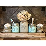 Ball Mason Jar BATHROOM ULTIMATE SET Antique WHITE Tray ~Toothbrush, Quart Jar (flower optional) Cotton Ball Soap Dispenser ~JARS Distressed Stainless Steel Accessories Gray Blue Green Cream Tan