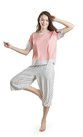new style ee1ba 6ac9a Damen Schlafanzug Pyjama Set Pink Gemustert - Sommer Nachtwäsche Oversized  Shirt & Capri Lounge Hose - Schlafanzüge für Frauen - Starlight