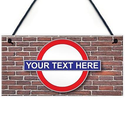 Rojo Ocean placa personalizable de metro de Londres para colgar personalizada Tubo de estación de tren