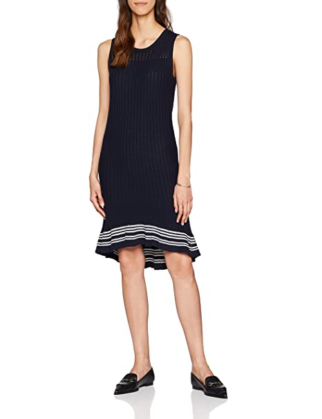 Tommy Hilfiger Valeska C-nk Ruffle Hem Dress, Vestido para Mujer, Azul (