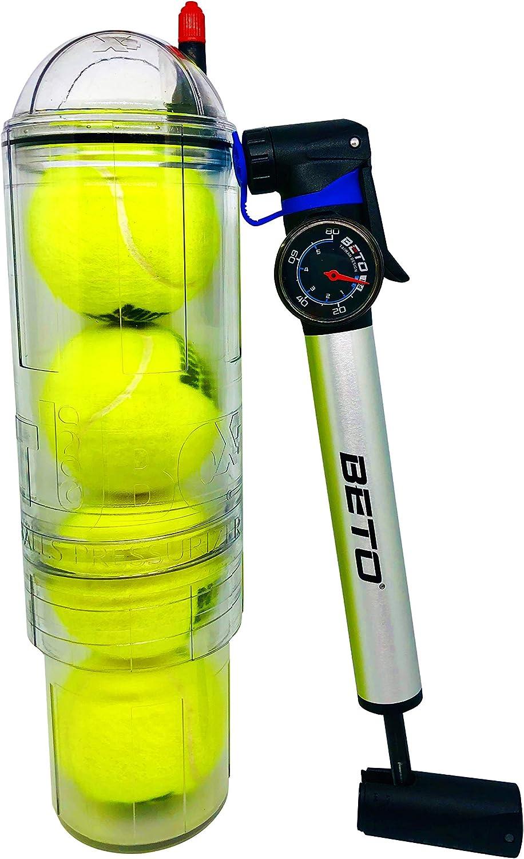 Presurizador TuboX4 Crystal con bomba con manómetro Beto para todos los botes de 3 ó 4 pelotas de Tenis y Padel.