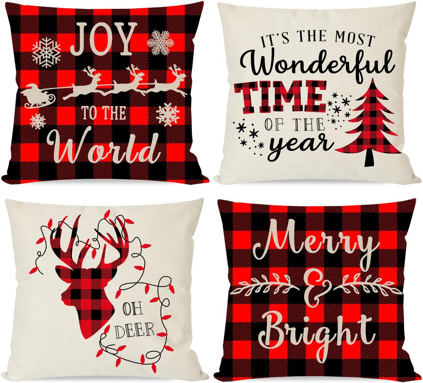 Christmas Throw Pillow Covers 18x18 Set of 4 Red and Black Buffalo Plaid Check