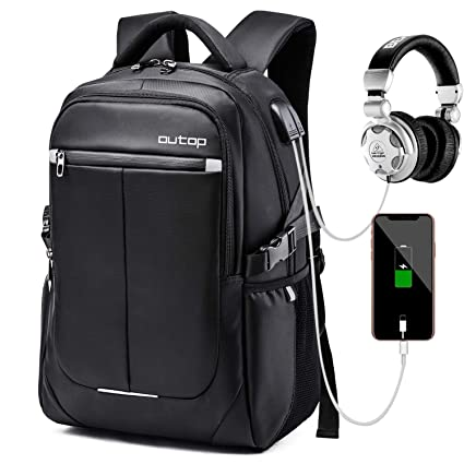44aeb4172a01 Outop Laptop Backpack, OUTOP Travel Computer Bag Women & Men, Anti Theft  Water Resistant College, Slim Business Backpack USB Charging Port Headphone  ...
