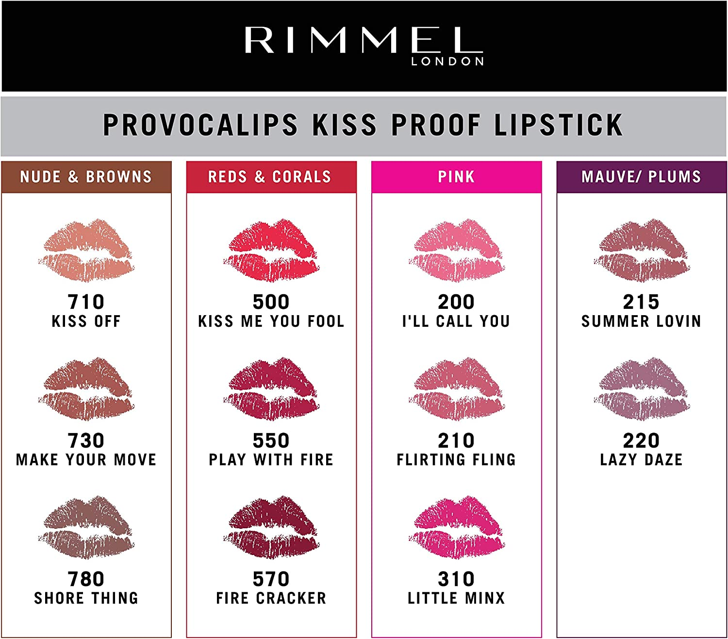 Rimmel London Provocalips Barra De Labios, Tono 500 Kiss Me You Fool - 7 ml