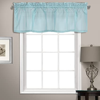 United Curtain Summit Sheer Voile Straight Valance, 56 x 14, Light Blue