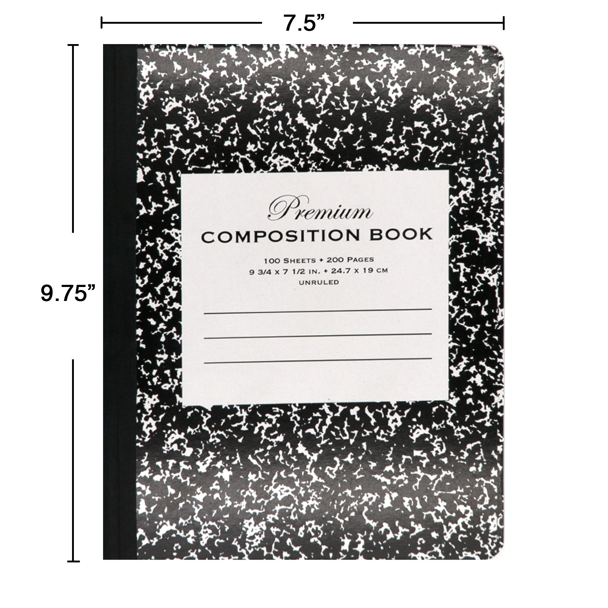 Emraw Black Marble Composition Book Unruled Paper 100 Sheet Office Dairy Drawing Note Books Journals Meeting Notebook Hard Covers Pack Of 4 Writing Book For school by Emraw (Image #2)