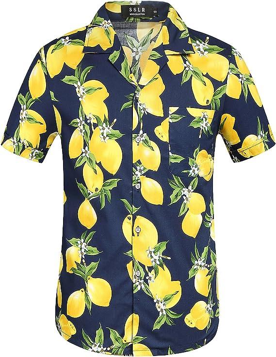 SSLR Camisa Manga Corta de Algodón Estampado de Limones Fruta Tropical Estilo Hawaiano para Hombre (Small, Amarillo): Amazon.es: Ropa y accesorios