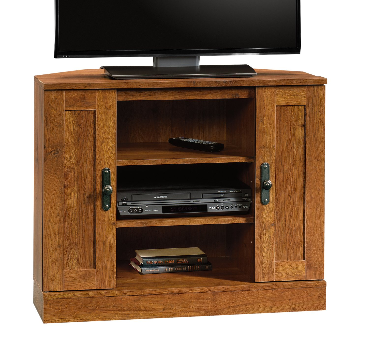 Sauder 404962 Harvest Mill Corner Entertainment Stand, For TV's up to 37'', Abbey Oak finish by Sauder