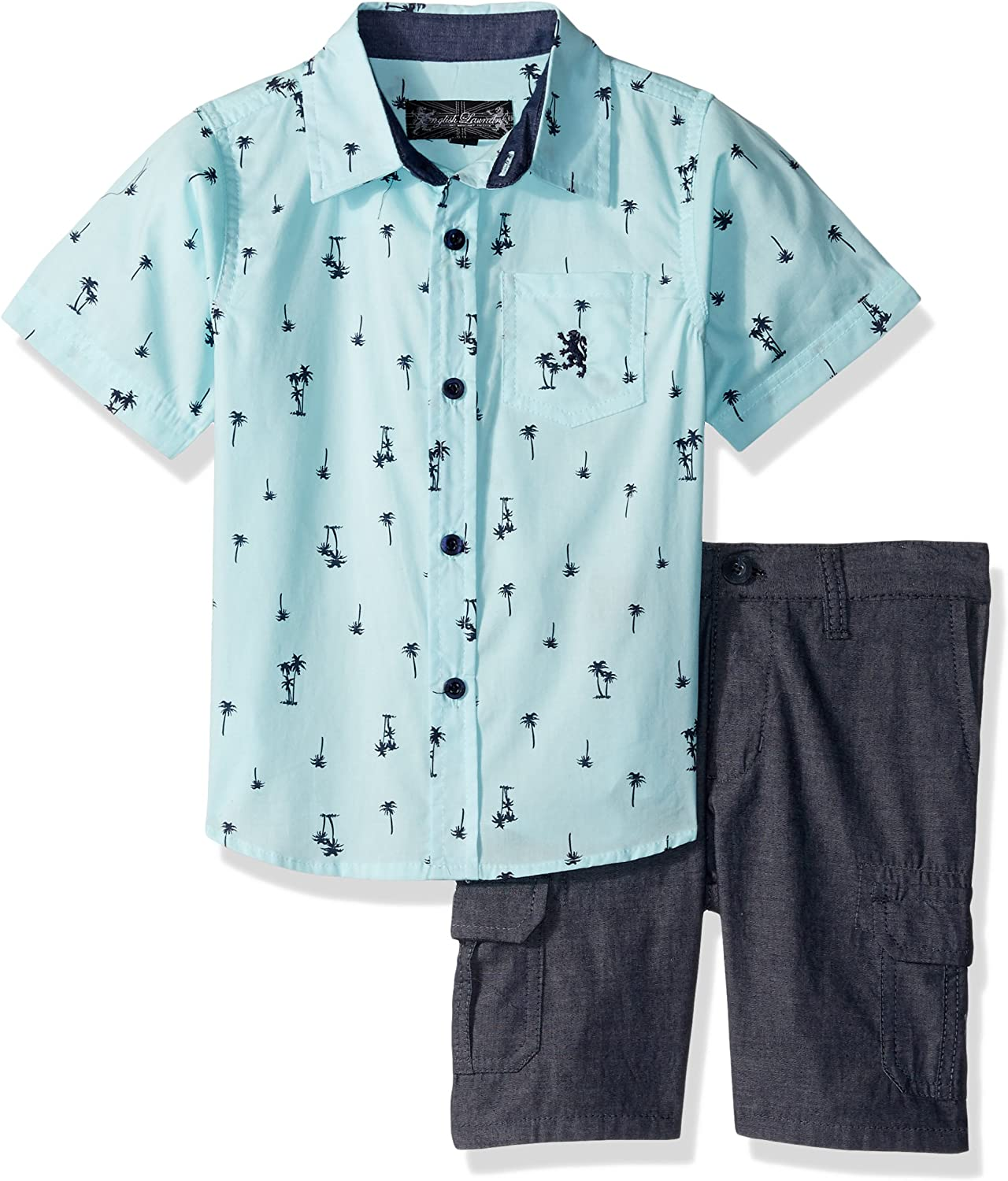 English Laundry Boys' Long Sleeve Two Pocket Sport Shirt and Chambray Cargo Short