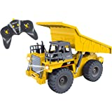 Top Race 6 Channel Full Functional Dump Truck, RC Remote Control Construction Dump Truck with Lights & Sounds 2.4Ghz (TR-112G)