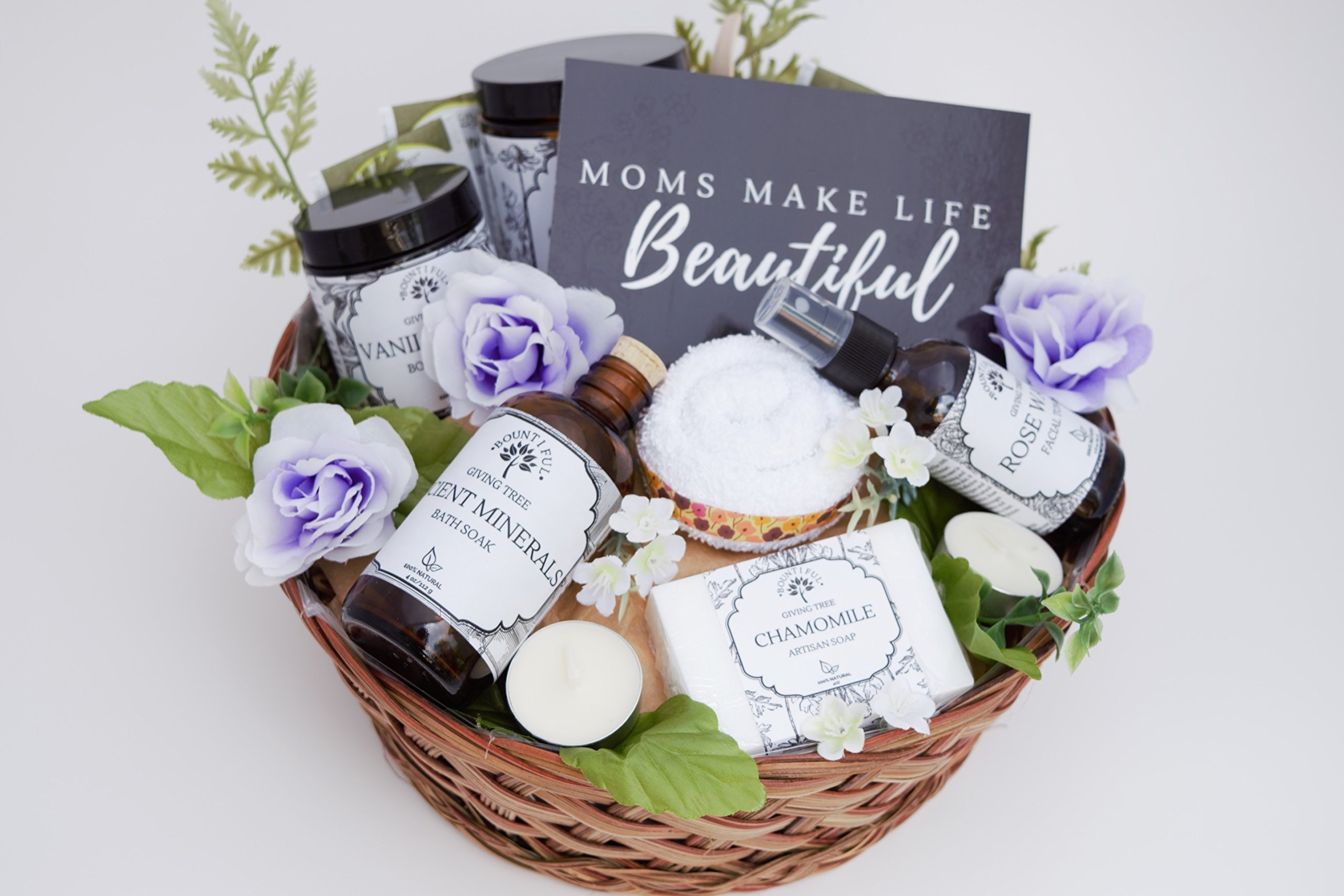 Mother Day Gift Basket, Spa Gift Basket, Includes Bath Salts, Body Butter, Rose Water, Artisan Soap Bar, Washcloth, Candles, Clay Mask, Sugar Scrub, Handwritten Card