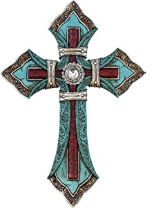 Top Brass Ornate Wall Cross - Tooled Teal Leather Look - Layered Spiritual Art