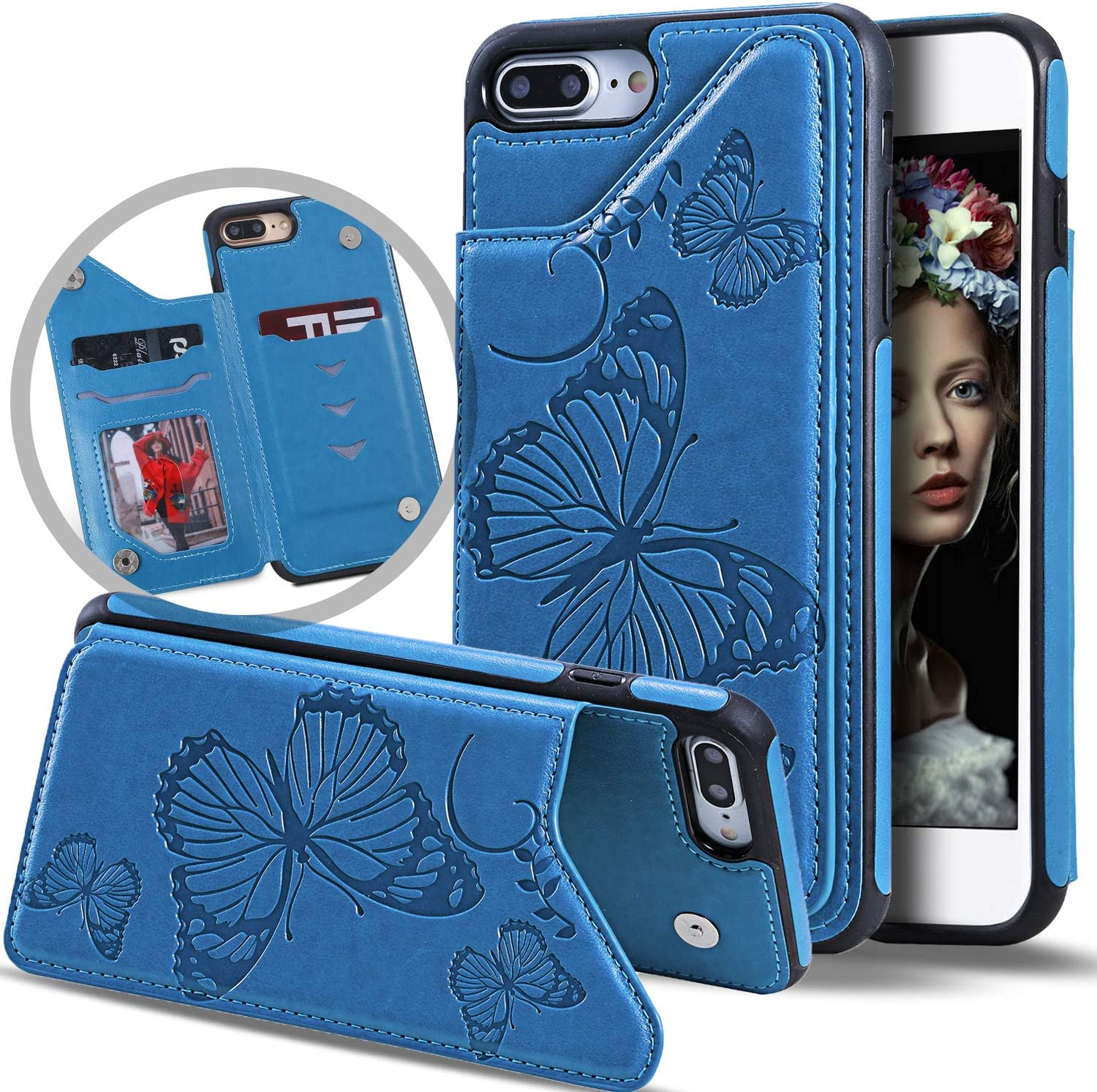 Vodico iPhone 8 Plus Wallet Case for Women,iPhone 7 Plus Case with Card Holder, Cute Girly Slim Folio Flip Butterfly Leather Magnetic Clasp Purse Case with Credit Card Slots&Stand for Girls (Blue)