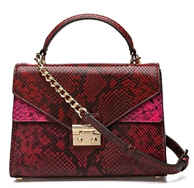 3427b73581ee MICHAEL Michael Kors Sloan Medium Top-Handle Python Embossed Leather  Satchel, Red