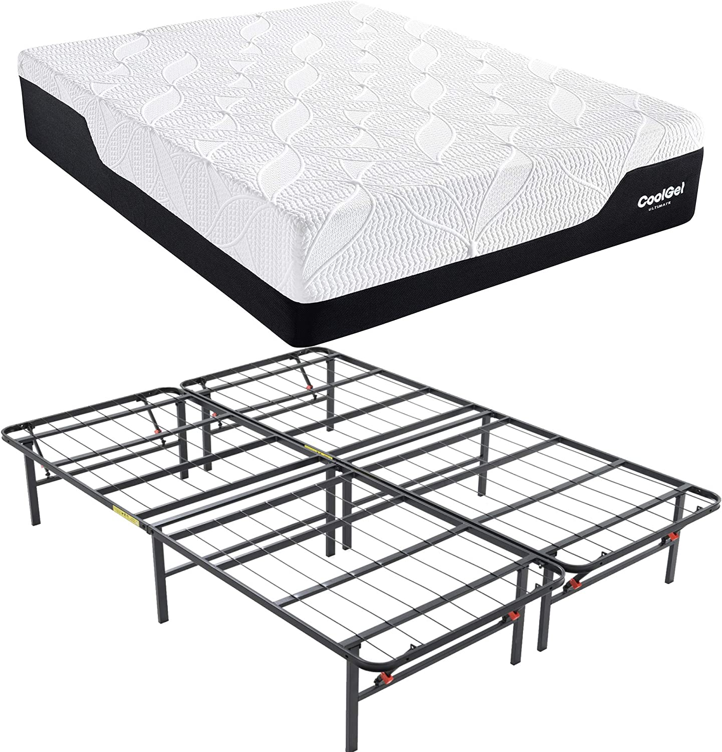 Classic Brands Cool Gel 2.0 Ultimate Gel Memory Foam 14-Inch Mattress with Hercules Heavy-Duty 14-Inch Platform Metal Bed Frame and BONUS Pillow, Full